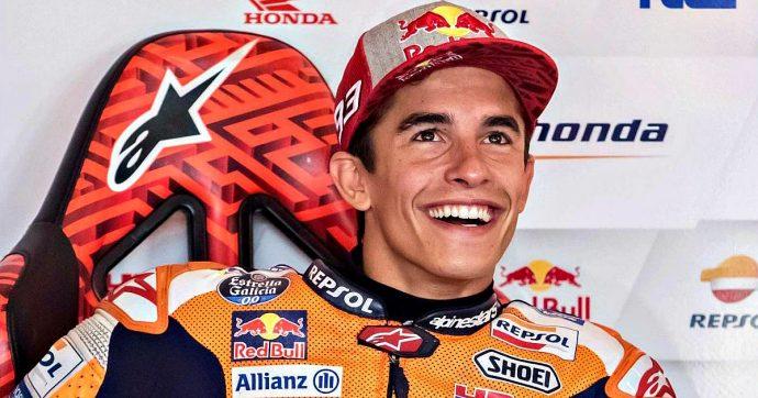 Gp Repubblica Ceca. Marquez rischia con le slick in condizioni asciutto-bagnato, ma prende la pole. Dovizioso 4°, Rossi 7°