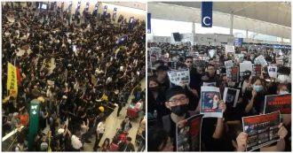 Hong Kong, 5mila manifestanti occupano l'aeroporto: tutti i voli cancellati