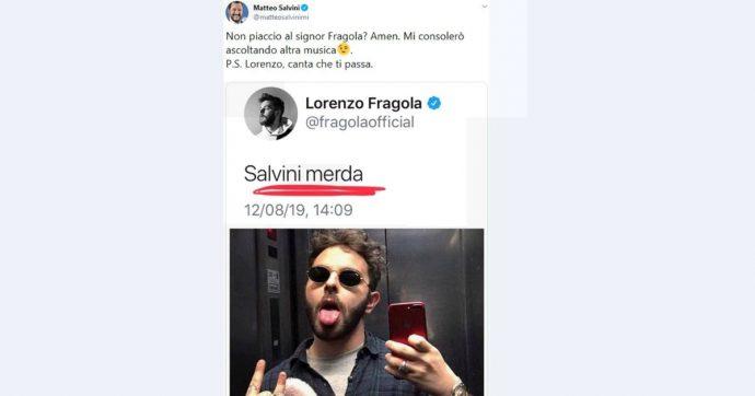 """Lorenzo Fragola su Twitter: """"Salvini m…"""". Il ministro: """"Ascolterò altro"""". Il cantante ribatte: """"Sei forte come dj, 49 milioni di singoli"""""""