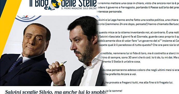 """Crisi di governo, M5s chiude a Salvini: """"Ha scelto Berlusconi. Voleva fregarci, si è fregato da solo"""""""
