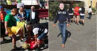 Bettola, il finto Salvini arresta Carola Rackete. La gag alla festa di paese sotto lo sguardo divertito di due parlamentari leghisti
