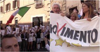 Governo, fuori dal Senato cori dei sostenitori Lega e M5s pro e contro Conte e Salvini