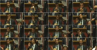 Crisi di Governo, caffè, rosario e sorrisi. Gesti e smorfie di Salvini durante il discorso di Conte