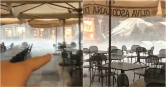 Maltempo ad Ascoli Piceno, allagamenti e tetti scoperchiati. La piazza spazzata dalla tempesta
