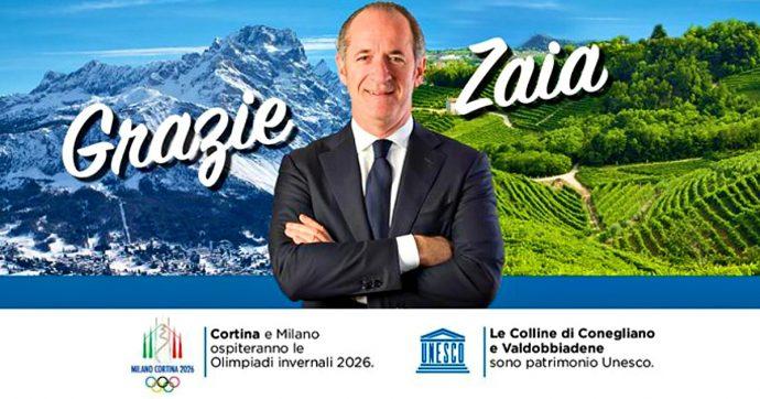 """Veneto, muri e piazze tappezzati di manifesti """"Grazie Zaia"""". Su Facebook compare anche il logo delle Olimpiadi, ma il Cio lo vieta"""