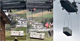 Valtellina, elicottero dell'Esercito atterra vicino alle case: panico tra gli abitanti e tre feriti