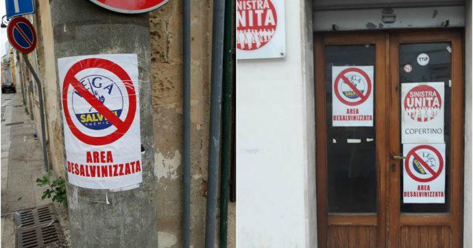 """Lecce, Sinistra Unita appende cartelli """"area desalvinizzata"""": carabinieri fanno sopralluogo. """"Chieste generalità. Volevano intimorirci"""""""