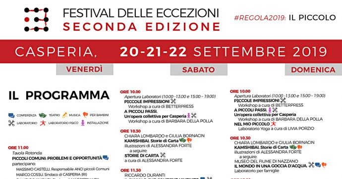 """Festival delle Eccezioni, il 20 settembre al via la seconda edizione a Casperia (Ri). Tema centrale: """"il piccolo"""""""