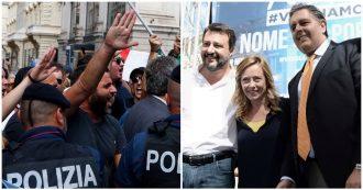 """Conte alla Camera, Fdi e Lega in piazza tra cori e saluti romani: """"Vogliono Prodi al Colle. Se cambiano Quota 100 li chiudiamo dentro"""""""