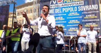 """Governo, Salvini in piazza: """"Cambieranno quota 100? Non li faremo uscire dal Palazzo"""""""