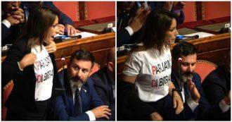 """Governo, Borgonzoni (Lega) a Conte: """"Sa cosa è successo a Bibbiano?"""". E mostra maglietta, Casellati la richiama e sospende la seduta"""
