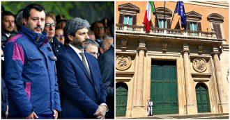 """Salvini contro il portone di Montecitorio: """"Sprangarlo è sfregio al popolo"""". Fico: """"Chiuso per lavori. Non conosce Parlamento"""""""