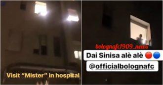 """Bologna, i giocatori dopo la vittoria fanno tappa al Sant'Orsola per un saluto a Mihajlovic. Il tecnico: """"Bravi, ma ora andate a nanna"""""""