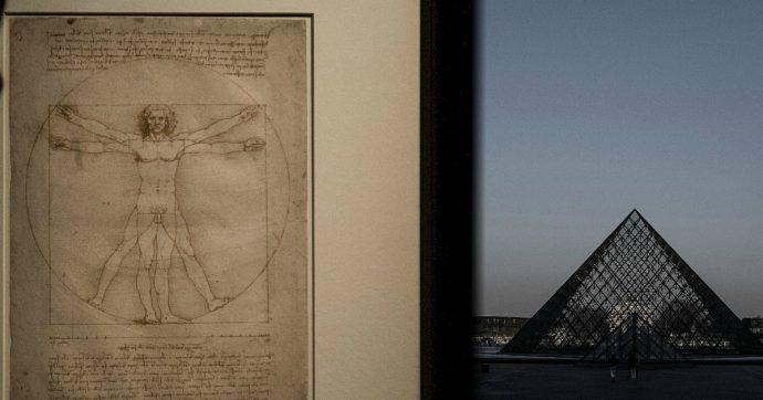 """Uomo vitruviano di Leonardo, accordo Italia-Francia: il disegno del Da Vinci al Louvre per otto settimane. Italia Nostra: """"È illegittimo"""""""