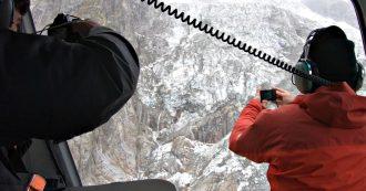 Monte Bianco, in volo sul ghiacciaio di Planpincieux. Iniziata installazione del radar: 250mila metri cubi in bilico sulla Val Ferret