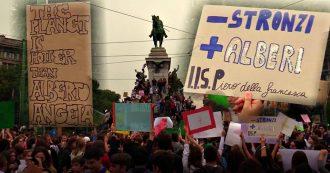 """Sciopero per il clima, migliaia di studenti in piazza a Milano. La folla intona cori e mostra cartelli: """"Il pianeta è più hot di Alberto Angela"""""""