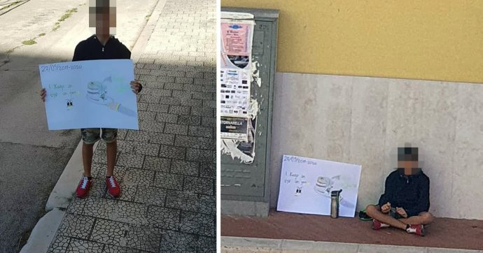 """Friday for Future, il sit-in solitario del piccolo Potito a Stornarella (Foggia): è l'unico bimbo in piazza. Il governatore Emiliano: """"Un eroe"""""""