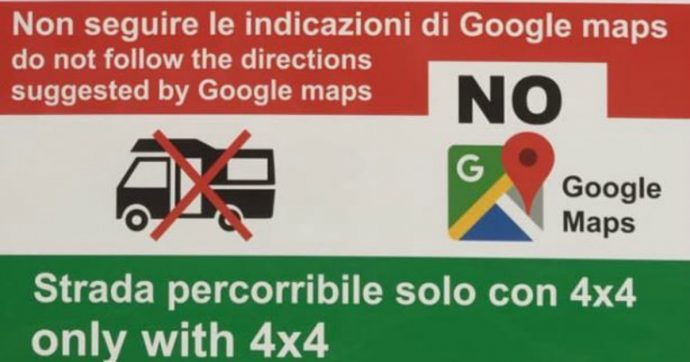 """Sardegna, arrivano i cartelli anti Google Maps: """"Non seguite le indicazioni del navigatore"""""""