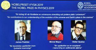 Nobel per la Fisica, sulle tracce del Big Bang e di nuovi mondi alieni: premiati il cosmologo Peebles e i planetologi Mayor e Queloz