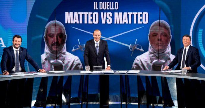 """Renzi contro Salvini a Porta a Porta. Leader di Italia Viva: """"Da 27 anni fa solo spot"""". L'ex vicepremier: """"Io oggi sono al 33%, lui al 4%"""""""