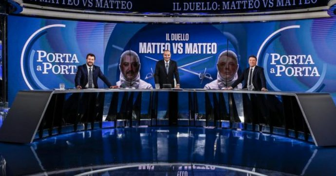 Porta a Porta, boom di ascolti per il duello Salvini-Renzi. La lettura televisiva: un po' showmen, un po' litiganti da reality