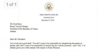 """Siria, lettera di Trump a Erdoğan: """"Non essere stupido, non voglio distruggere l'economia turca"""". Ankara: """"Finita nella spazzatura"""""""