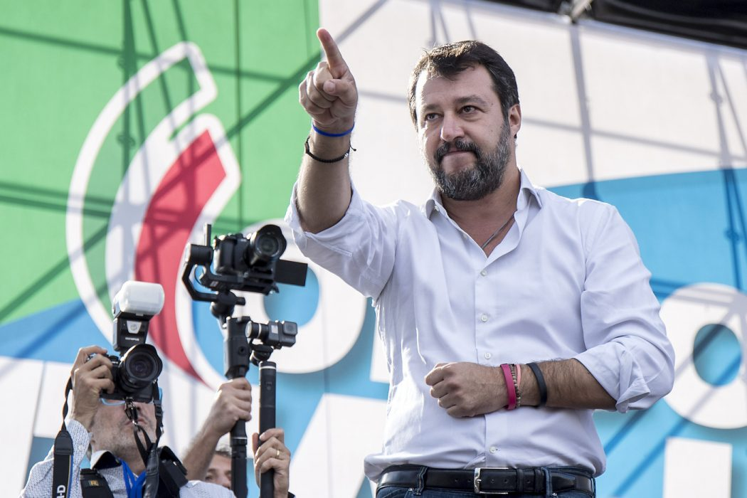 Foto Roberto Monaldo / LaPresse 19-10-2019 Roma Politica Orgoglio italiano! – Manifestazione della Lega e del centrodestra contro il governo Conte bis Nella foto Matteo Salvini   Photo Roberto Monaldo / LaPresse 19-10-2019 Rome (Italy) Italian pride! – Demonstration by the Lega and the center-right  parties against the Conte bis government In the pic Matteo Salvini