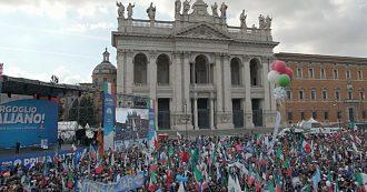 Centrodestra unito a Roma: 'Siamo 200mila'. Salvini: 'Vinciamo tutte le Regionali e governo a casa. Migranti? Hanno mani sporche di sangue'
