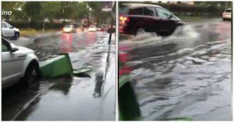 Maltempo a Milano, strade e sottopassaggi allagati: le immagini della città sotto la pioggia