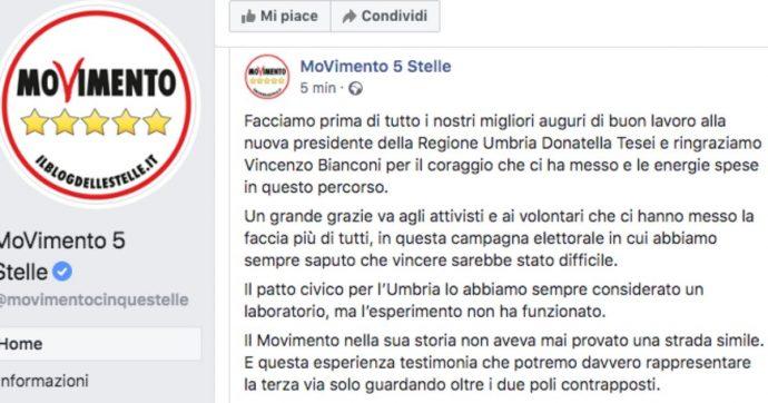 """Elezioni Umbria, il post M5s dopo la sconfitta: """"Esperimento non ha funzionato. La terza via è solo guardare oltre i due poli contrapposti"""""""