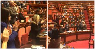 Antisemitismo e odio razziale, tutti in piedi in Aula ad applaudire Liliana Segre ma i senatori di Lega, FdI e FI restano seduti