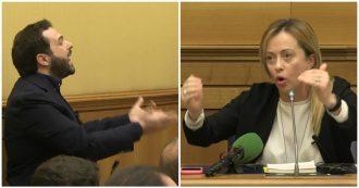 """Fratelli d'Italia, lite tra Giorgia Meloni e il giornalista di Report: """"Da voi solo falsità, inchiesta vergognosa"""". """"E allora ci denunci"""""""