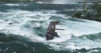 Cascate del Niagara, la nave è incagliata a un passo dal baratro da 101 anni: il maltempo la spinge via