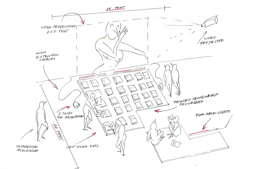 When the Towel Drops, Vol 1 | Italy, Radha May (Elisa Giardina Papa, Nupur Mathur, Bathsheba Okwenje), 2015-2019.   Bozzetto preparatorio della video installazione. Per gentile concessione delle artiste.