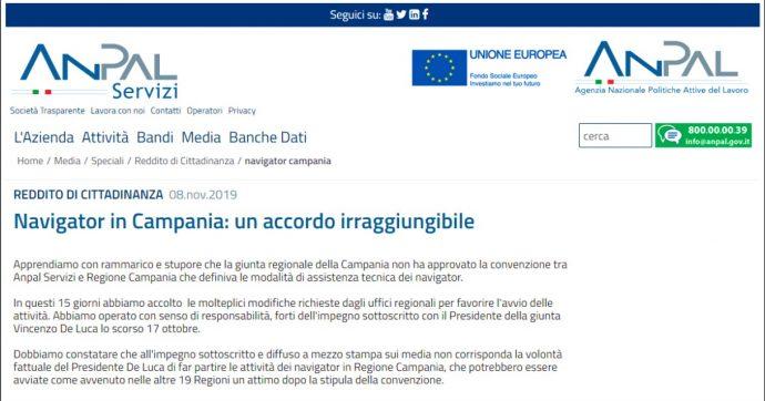 """Reddito di cittadinanza, scontro Anpal-Campania sui navigator: """"Giunta non sblocca assunzioni"""". """"Falso, colpa dell'agenzia"""""""