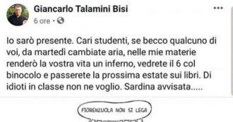 """Sardine, prof a studenti: """"Se vi becco con loro renderò vostra vita un inferno"""". Fioramonti: """"Verifica fatti e docente sospeso"""". Lui si scusa"""