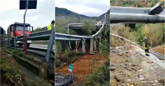 Savona, crollato un tratto di viadotto in direzione Torino. Le prime immagini