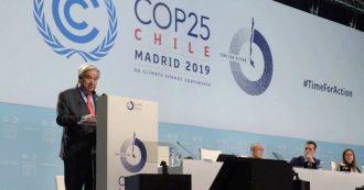 """Clima, il segretario dell'Onu Guterres alla conferenza di Madrid: """"La scelta è tra speranza di un mondo migliore o la capitolazione"""""""