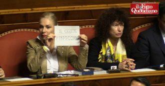 """Fondo salva-Stati, la Lega contesta Conte con un cartello: """"Pinocchio"""". Ma i senatori dai banchi sbagliano la """"coreografia"""""""