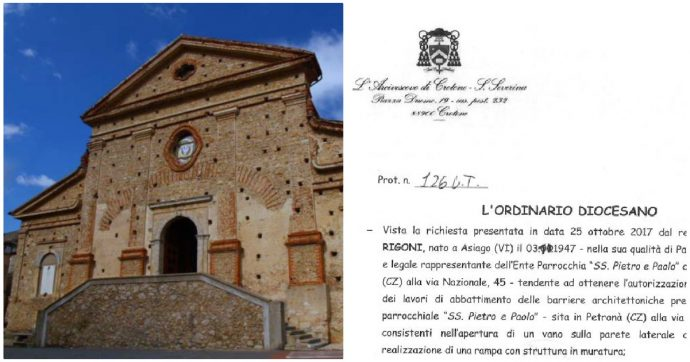 """Catanzaro, parroco di Petronà: """"Alla chiesa serve una porta laterale per far entrare malati e disabili, ma la soprintendenza si oppone"""""""