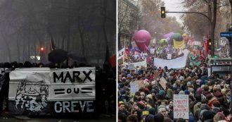"""Francia, sciopero contro riforma pensioni. Sindacato: """"1 milione e mezzo di persone in piazza"""". Black bloc a Parigi: incendi e scontri"""