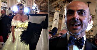 """Prima della Scala, tutte le stravaganze del foyer: dall'abito locandina alla gonna luminosa. Enzo Miccio: """"Unica regola? Non ci sono regole"""""""