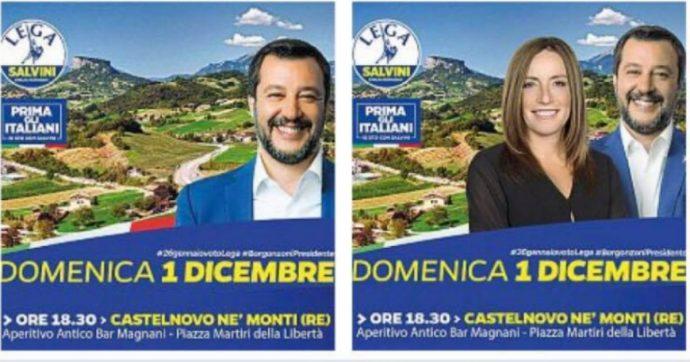 """Regionali Emilia, il caso della locandina della Lega da cui è stata cancellata la Borgonzoni. Bonaccini: """"Sul territorio c'è solo Salvini"""""""