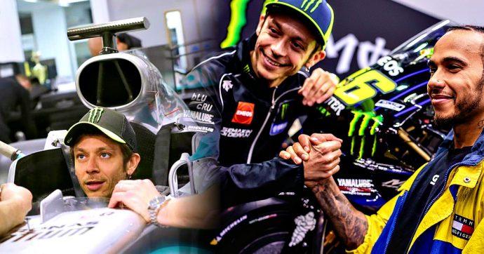 Valentino Rossi e Lewis Hamilton, uno sulla Mercedes e l'altro sulla Yamaha: lo scambio è andato in scena in gran segreto a Valencia