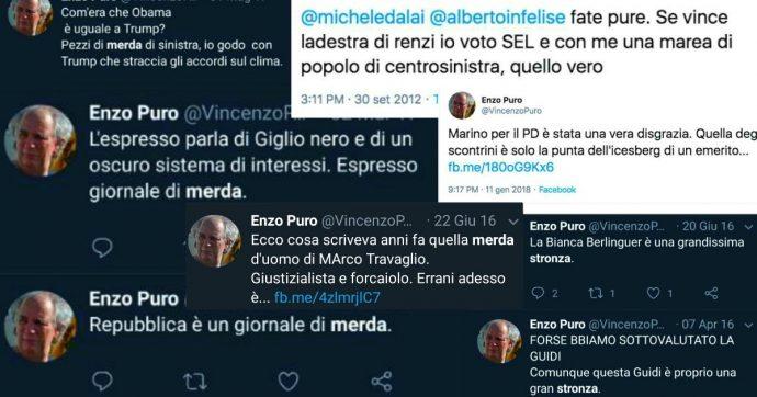 """Caso Formigli, """"Enzo Puro, uno di noi"""": il fan che Renzi ha preso a modello ha alle spalle una lunga striscia di insulti. Pure per l'ex premier"""