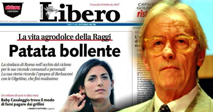 """Vittorio Feltri a giudizio per articolo e titolo 'Patata bollente' su Virginia Raggi apparsi in prima pagina su Libero: """"Offeso reputazione"""""""