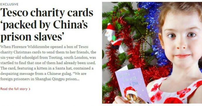 """Londra, bimba apre cartolina di Natale e legge: """"Siamo prigionieri stranieri in Cina, aiutateci"""""""