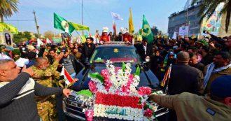 """Soleimani, in migliaia a Baghdad ai funerali del generale iraniano: """"Morte agli Usa"""". Pompeo: """"Ue non è stata d'aiuto come volevo"""""""
