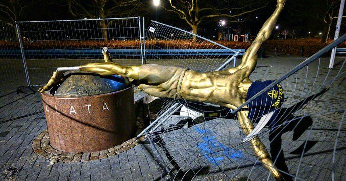 Zlatan Ibrahimovic, abbattuta e danneggiata a Malmoe la scultura del calciatore