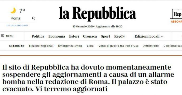 Roma, falso allarme bomba nella sede di Repubblica: evacuato il palazzo, giornalisti in strada per un'ora
